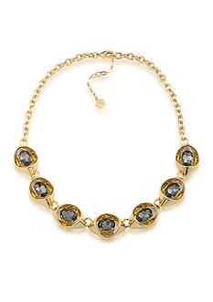 Trina Turk Gold-Tone Adjustable Link Stone Collar Necklace