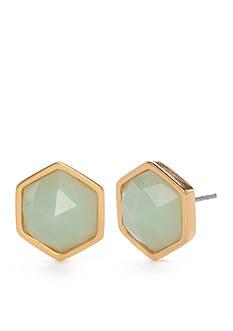 Trina Turk Green Hexagon Stud Earrings
