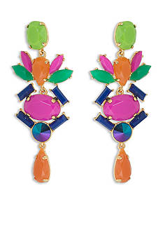 Trina Turk Gold-Tone Multi-Colored Chandelier Linear Earrings