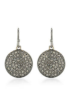 Trina Turk Silver-Tone Neo Goth Pave Disk Drop Earrings