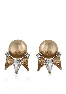 Trina Turk Gold-Tone Sparkle and Shine Topaz Button Earrings