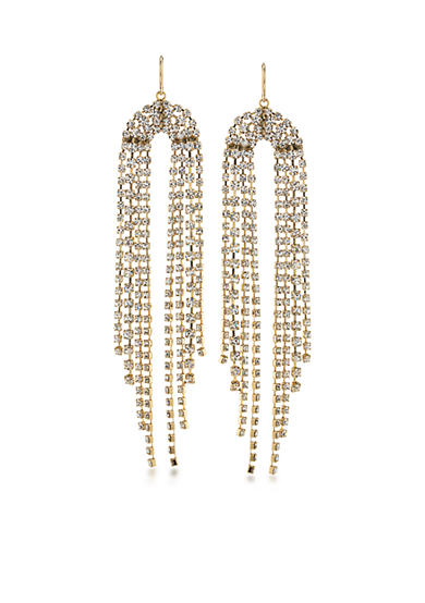 Trina Turk Gold-Tone Sparkle and Shine Clear Chandelier Earrings