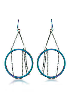 Trina Turk Hematite-Tone Gypsy Hoop Pierced Earrings