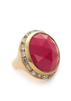 Trina Turk Pink Faceted Crystal Bezel Ring