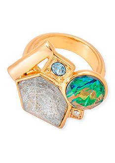 Trina Turk Gold-Tone Going Geo Cluster Stone Ring