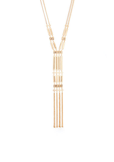 New Directions® Gold-Tone Crystal Bar Long Tassel Pendant Necklace