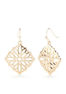 New Directions® Gold-Tone Pur Blush Filigree Drop Earrings