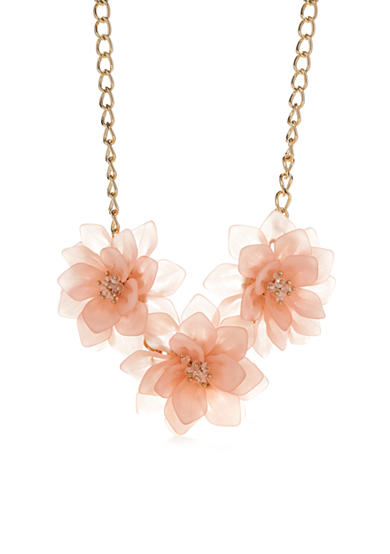 New Directions® Gold-Tone Floral Bliss Pink Flower Statement Necklace