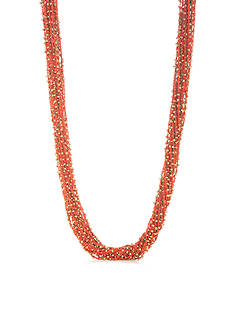 New Directions Gold-Tone Beaded Fabric Neck Statement Necklace