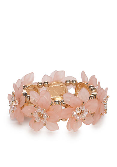 New Directions® Gold-Tone Floral Bliss Pink Flower Bracelet