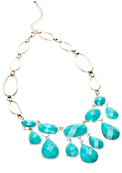 New Directions® Turquoise Crackle Bib Necklace