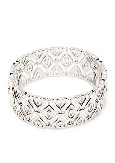 Nadri Silver-Tone Cubic Zirconia Bangle Bracelet
