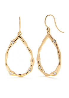Nadri Gold-Tone Hammered Cubic Zirconia Drop Earrings