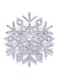 Nadri Silver-Tone Jolly Snowflake Cubic Zirconia Pin