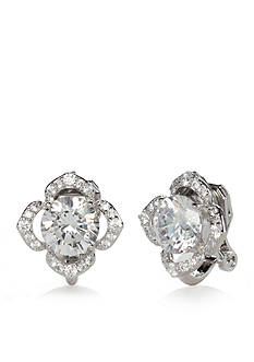 Nadri Silver-Tone Cubic Zirconia Flower Clip Earrings