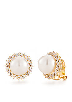 Nadri Gold-Tone Cubic Zirconia and Pearl Button Clip Earrings
