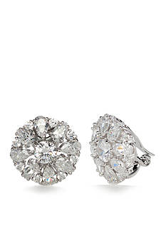 Nadri Silver-Tone Cubic Zirconia Cluster Clip Earrings
