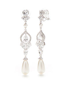 Nadri Diamond Pearl Drop Earrings