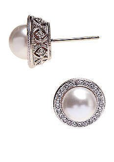 Nadri Formed Pearl Stud Earrings