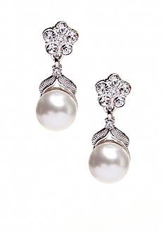 Nadri Pearl in Flower Drop Earrings