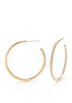 Nadri Gold-Tone Pave Medium Hoop Earrings