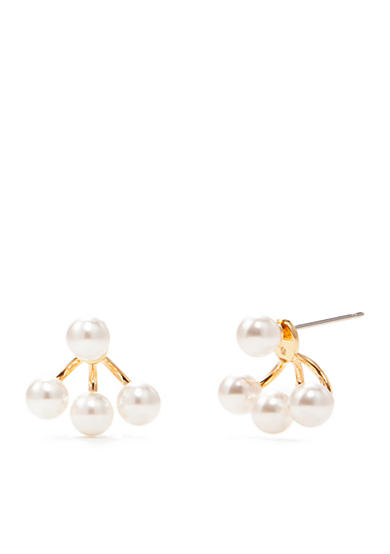Nadri Pearl Front and Back Earrings