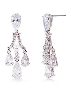 Nadri Silver-Tone Cubic Zirconia Chandelier Earrings