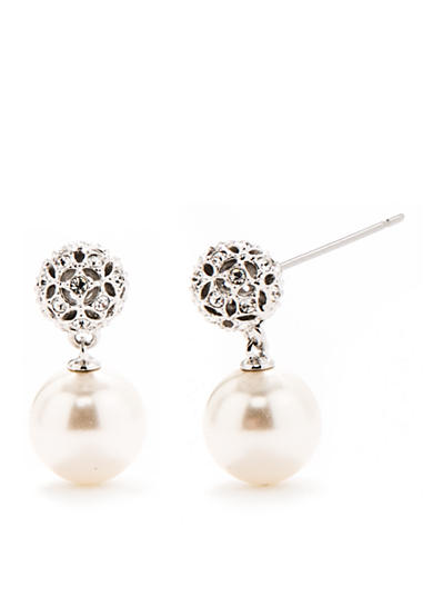 Nadri Rhodium Plated Pearl Earring