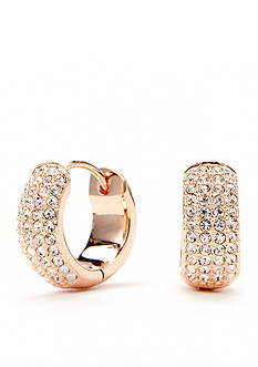 Nadri Gold-Tone Pave Crystal Miniature Hoop Earrings
