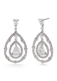Nadri Silver-Tone Victorian Lace Cubic Zirconia Drop Earrings