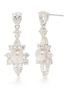 Nadri Silver-Tone Isolde Pearl Drop Earrings