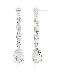Nadri Silver-Tone Cubic Zirconia Linear Earrings
