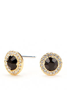 Nadri Gold-Tone Jet Black Stud Earrings