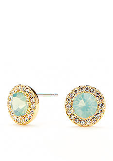 Nadri Gold-Tone Turquoise Opal Stud Earrings