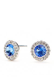 Nadri Silver-Tone Sapphire Stud Earrings