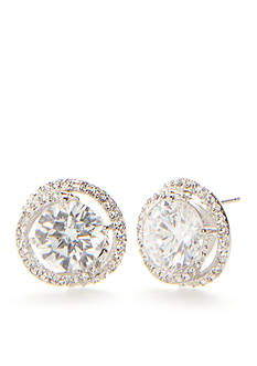 Nadri Silver-Tone Cubic Zirconia Button Earrings