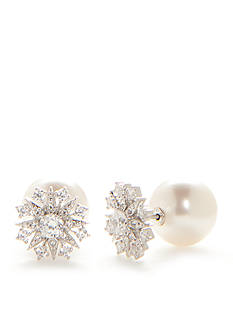 Nadri Silver-Tone Pearl Front Back Earrings