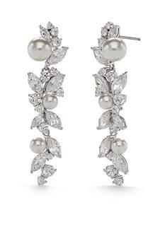 Nadri Silver-Tone Heaven Cubic Zirconia and Pearl Linear Earrings