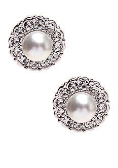 Nadri Small Pearl Framed Stud Earrings