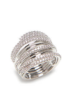 Nadri Silver-Tone Stack Ring