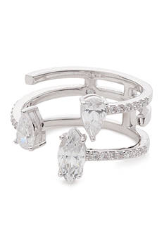 Nadri Silver-Tone Cubic Zirconia Open Front Ring