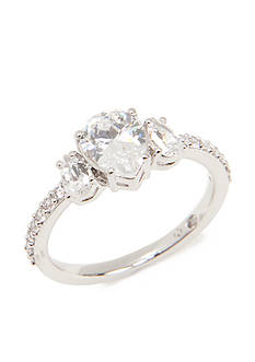 Nadri Silver-Tone Three Stone Cubic Zirconia Ring