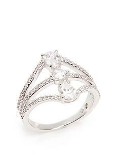 Nadri Silver-Tone Cubic Zirconia Open Ring