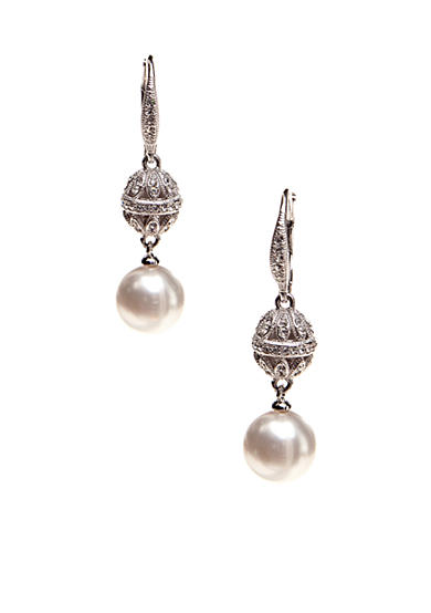 Nadri Pearl Earring in Bezel Drop