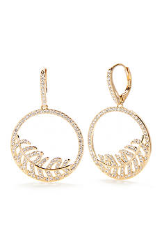 Nadri Silver-Tone Angelina Feather Hoop Earrings