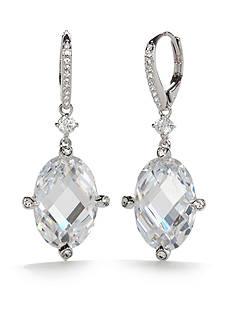 Nadri Silver-Tone Large Cubic Zirconia Lever Back Drop Earrings