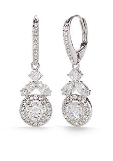 Nadri Silver-Tone Round Vine Framed Drop Earrings