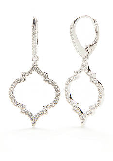 Nadri Silver-Tone Cubic Zirconia Mandala Drop Earrings