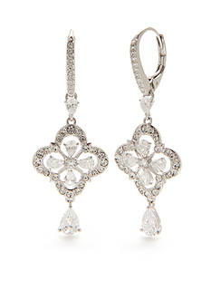 Nadri Silver-Tone Floral Victorian Drop Earrings