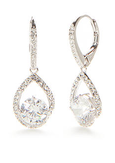 Nadri Silver-Tone Cubic Zirconia Drop Earrings